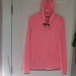 Nwot pink furry faux fur soft zip up jacket hood